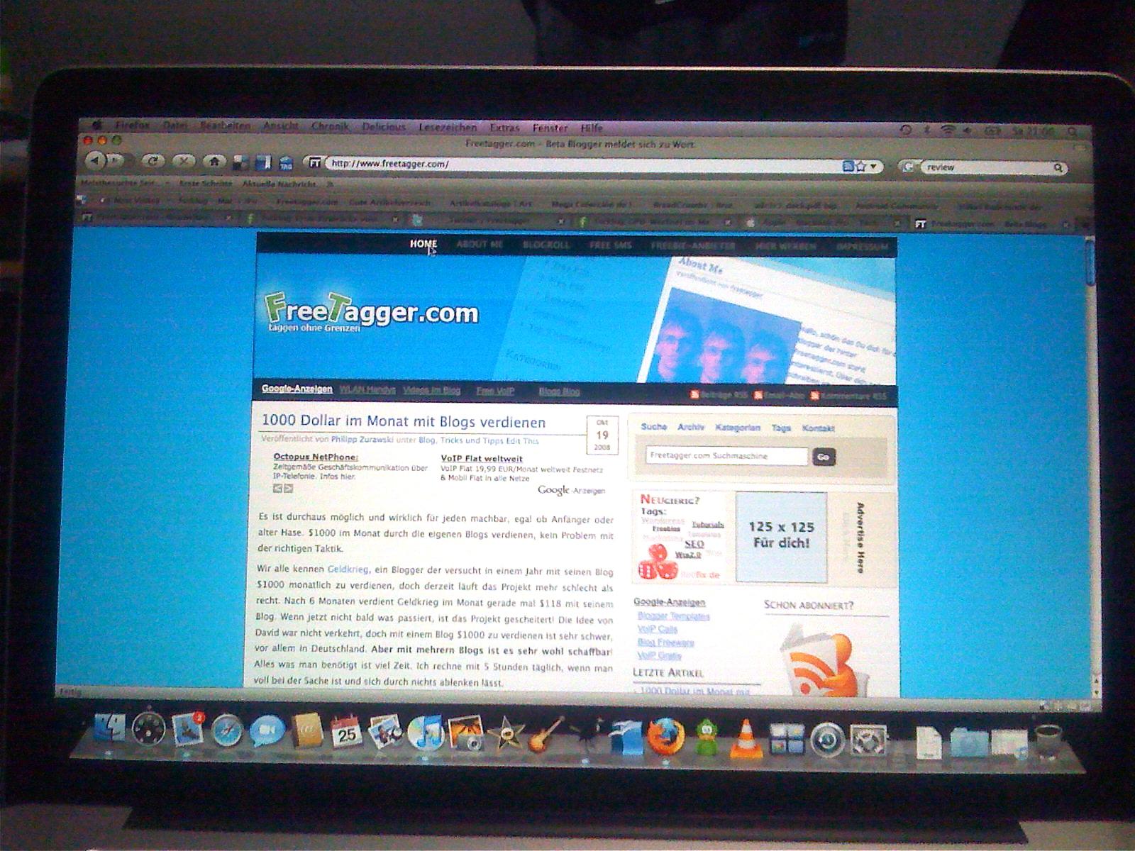 Freetagger.com auf dem MacBook