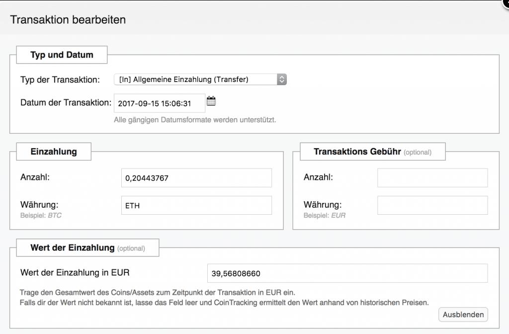 Auszahlung in Ethereum am 15.09.2017