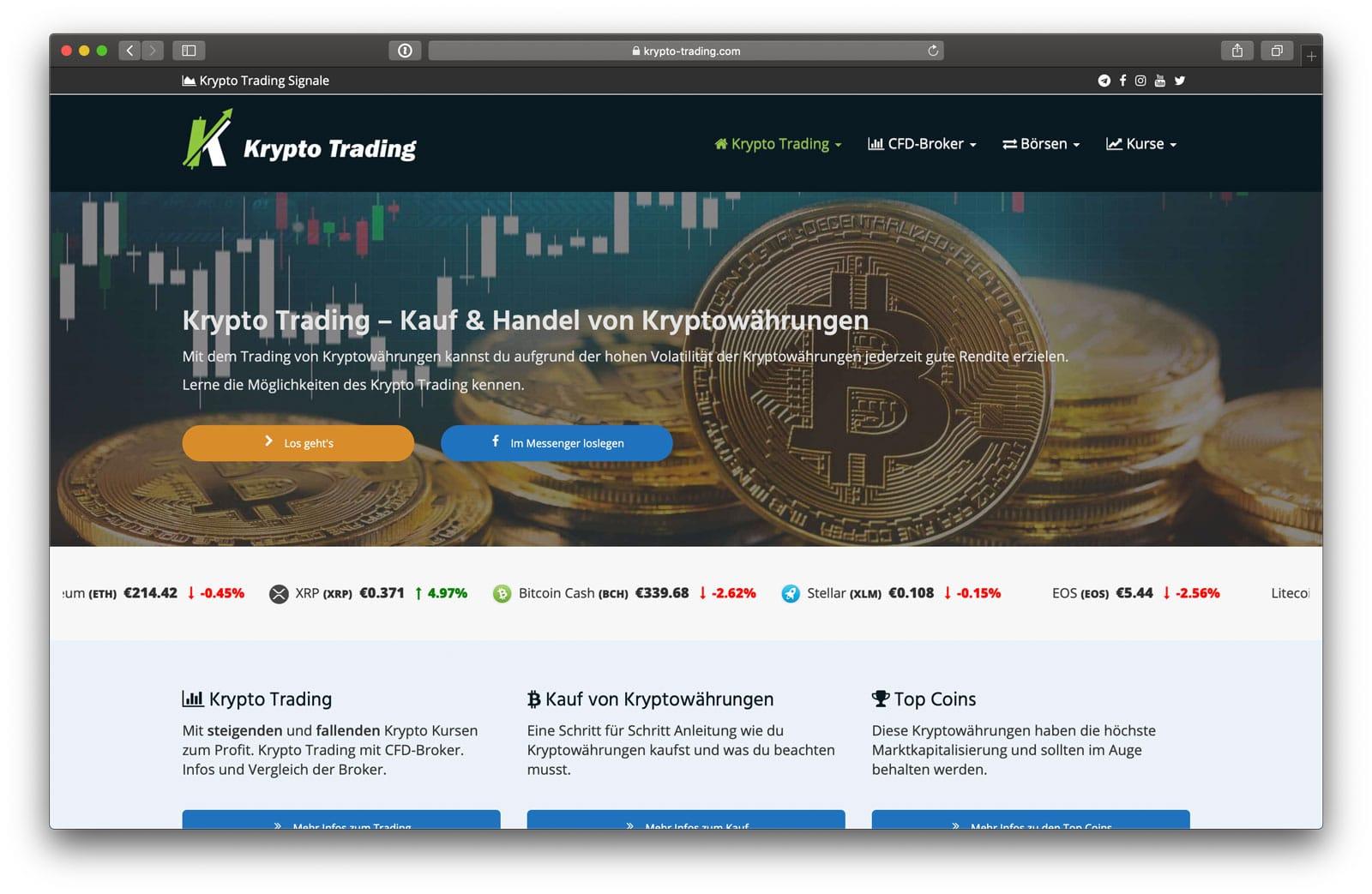 Krypto Trading Webseite 2019