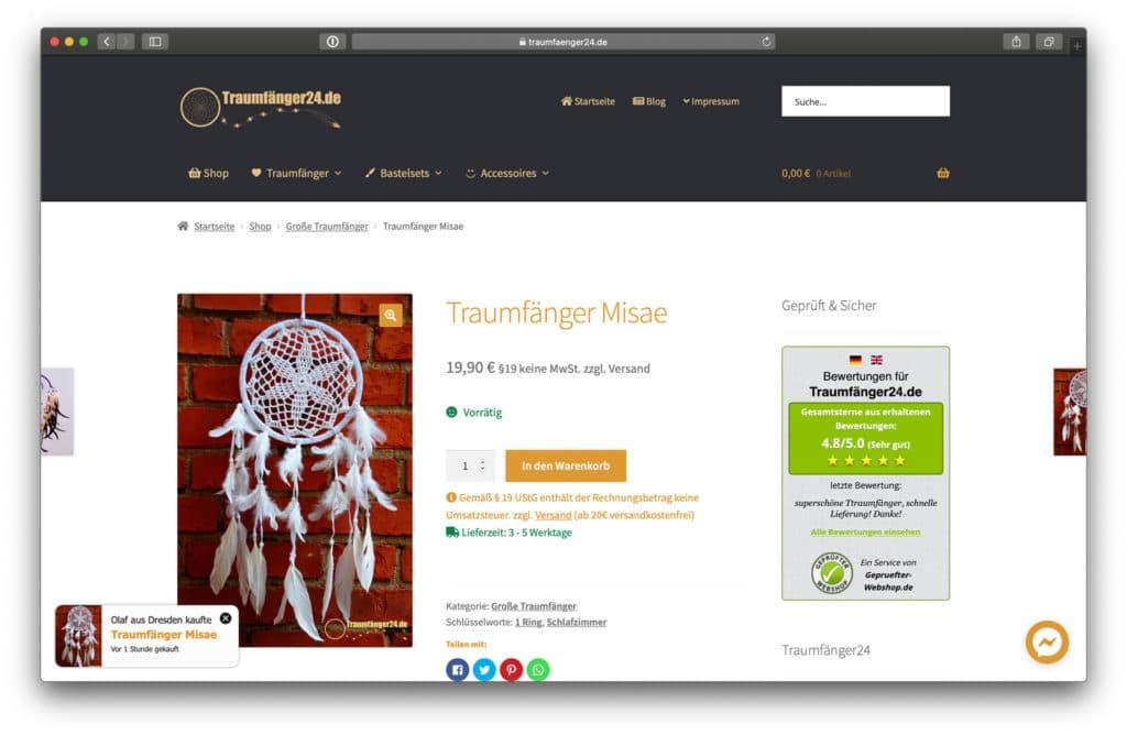 Traumfänger24 Produktseite